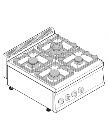 Piano di cottura a gas 4 fuochi, potenza fuochi aperti 1x7,2+1x3,3+2x4,5 n°xkW - cm 70x70x28h