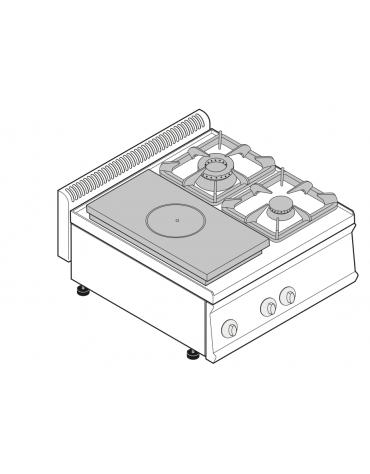Piano di cottura a gas 2 fuochi con 1 piastra cm 30,9x55,4, potenza fuochi aperti 1x7,2 + 1x3,3 n°x kw - cm 70x70x28h
