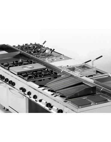 Piano di cottura a gas 4 fuochi con 1 piastra cm 30,9x55,4, potenza fuochi aperti 1x7,2+2x3,3+1x4,5 n°x kw - cm 105x70x28h