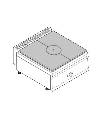 Piano di cottura tuttopiastra a gas cm 62,8x55,8, 1 bruciatore - cm 70x70x28h