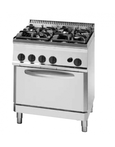 Cucina a gas 4 fuochi, forno a gas GN 2/1, fuochi aperti 1x7,2+1x3,3+2x4,5 n°xkW - cam. forno cm 57,5x65x30 - cm 70x70x85h