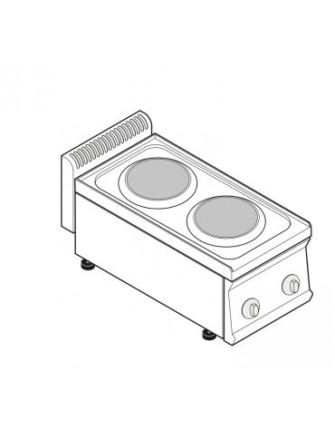 Piano di cottura elettrico trifase-5,2kw, 2 piastre Ø cm 22 - cm 35x70x28h