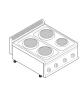Piano di cottura elettrico trifase-10,4kw, 4 piastre Ø 22 - cm 70x70x28h