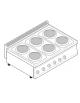 Piano di cottura elettrico trifase-15,6kw, 6 piastre Ø 22 - cm 105x70x28h
