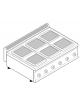 Piano di cottura elettrico trifase-15,6kw, 6 piastre cm 22x22 - cm 105x70x28h