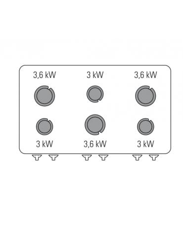 Piano di cottura a gas 6 fuochi, potenza fuochi aperti 3x3 + 3x3,6 n°x kW - cm 105x60x30h