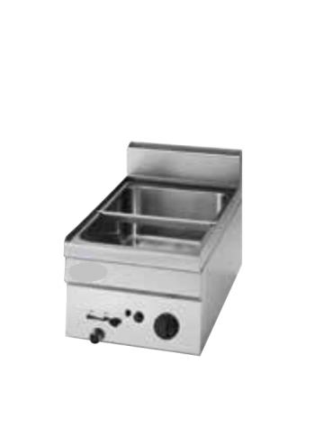Bagnomaria a gas da banco, 1 vasca AISI 304 - GN1/1 dim. cm 30,5x51x16,5h - dim tot. cm 35x60x30h