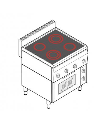 Cucina elettrica trifase-11,1kw, 4 piani di cottura in vetroceramica, forno elettrico ventilato - cm 70x65x85h