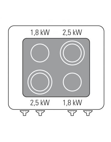 Piano di cottura elettrico trifase-8,6kw, con 4 piani di cottura in vetroceramica - cm 70x70x28h