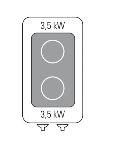 Piano di cottura ad induzione trifase-7kw, con 2 piani di cottura - cm 35x70x28h