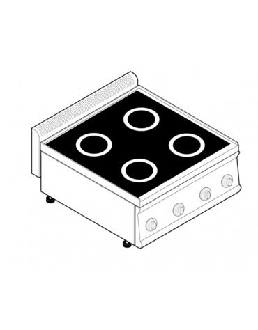 Piano di cottura ad induzione trifase-14kw, con 4 piani di cottura - cm 70x70x28h