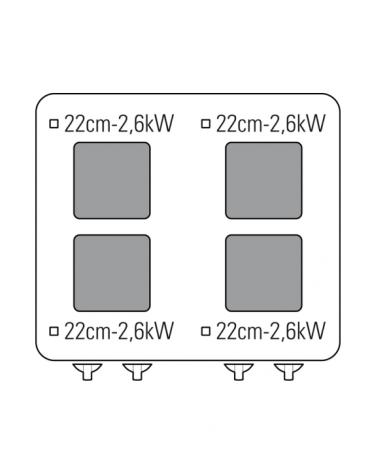 Cucina elettrica trifase-15,1kw, 4 piastre cm 22x22, su forno elettrico GN2/1, con camera cm 57x65x30 -cm 70x70x85h