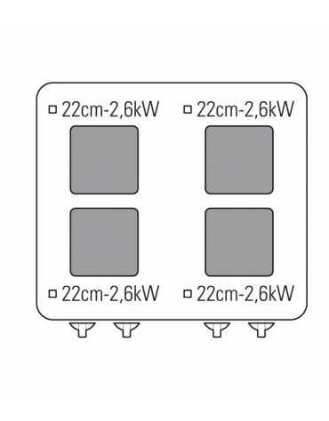 Cucina elettrica trifase-15,4kw, 4 piastre cm 22x22, su forno elettrico ventilato, con camera cm 57x51,5x30 -cm 70x70x85h
