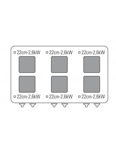 Cucina elettrica trifase-20,3kw, 6 piastre cm 22x22, su forno elettrico GN2/1, con camera cm 57,5x65x30 -cm 105x70x85h