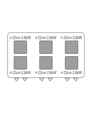 Cucina elettrica trifase-20,6kw, 6 piastre cm 22x22, su forno elettrico ventilato, con camera cm 57x51,5x30 -cm 105x70x85h