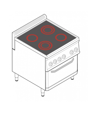 Cucina elettrica trifase-13,3kw, con 4 piani di cottura in vetroceramica, cam. forno cm 57,5x65x30  - dim tot. cm 70x70x28h