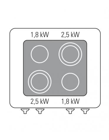 Cucina elett. trifase-13,6kw, con 4 piani di cottura in vetroceramica, cam. forno vent. cm 57x51,5x30  - dim tot. cm 70x70x28h
