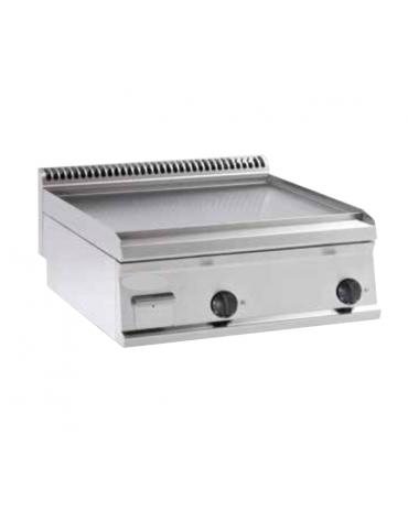 Fry top a gas da banco, 14 kw, piastra liscia, consumo gas 1,48 m³/h - sup. di cottura cm 69,6x56,4  - dim. 70x70x28h
