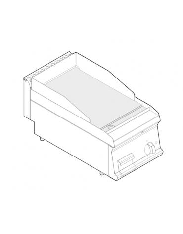 Fry top elettrico trifase-3,9kw da banco, piastra liscia, r. temp. 50÷320 °C - sup. di cottura cm 34,6x56,4  - dim. 35x70x28h
