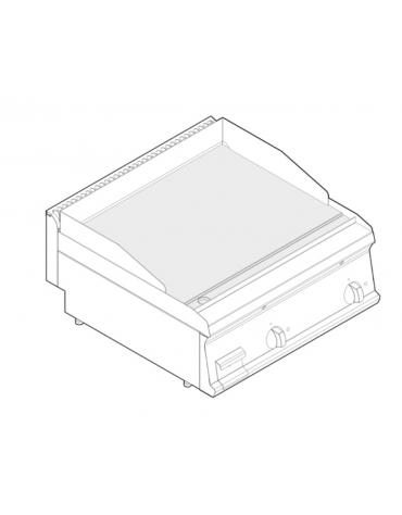 Fry top elettrico trifase-7,8kw da banco, piastra liscia, r. temp. 50÷320 °C - sup. di cottura cm 69,6x56,4  - dim. 70x70x28h