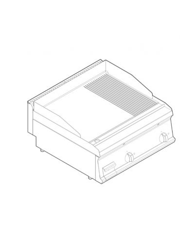 Fry top elettrico trifase-7,8kw da banco, piastra 1/3Rigata 2/3Liscia - sup. di cottura cm 69,6x56,4  - dim. 70x70x28h