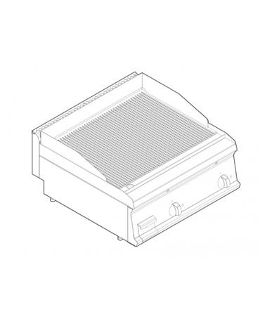 Fry top elettrico trifase-7,8kw da banco, piastra rigata, r. temp. 50÷320 °C - sup. di cottura cm 69,6x56,4  - dim. 70x70x28h