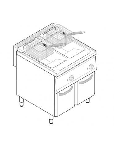 Friggitrice a gas freestandng 23kw, 2 vasche dim. cm 25x49,5x35h - 14 14lt - dim tot. cm 70x70x85h