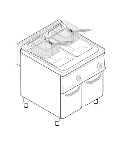 Friggitrice elettrica freestandng, trifase 21,6kw, 2 vasche dim. cm 25x49,5x29h - 14+14lt - dim tot. cm 70x70x85h