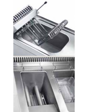 Friggitrice elettrica freestandng con controllo elettronico, 10,8kw, 2 vasche dim. cm 25x49,5x29h - 14lt - dim tot. cm 35x70x85h