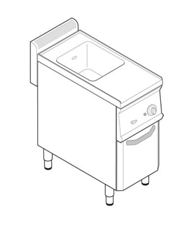 Cuocipasta a gas, in acciaio in acciaio inox AISI 316 da 23 litri di capacità - cm 35x70x85h