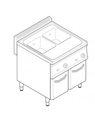 Cuocipasta elettrico trifase-9,6, in acciaio in acciaio inox AISI 316 da 23+23 litri di capacità - cm 35x60x85h