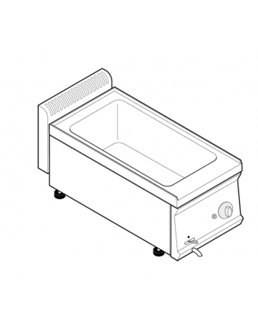 Bagnomaria a gas da banco, 1 vasca AISI 304 - GN1/1 dim. cm 30,5x51x16,5h - dim tot. cm 35x70x28h