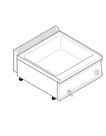 Bagnomaria elettrico da banco monofase-2,6kw, 1 vasca AISI 304 - GN2/1 dim. cm 63x51x16,5h - dim tot. cm 70x70x28