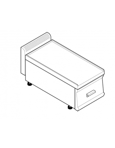 Piano di lavoro in acciaio inox, accessoriabile con apposito tagliere, con cassetto - cm 35x70x28h