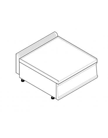 Piano di lavoro in acciaio inox, accessoriabile con apposito tagliere, senza cassetto - cm 70x70x28h