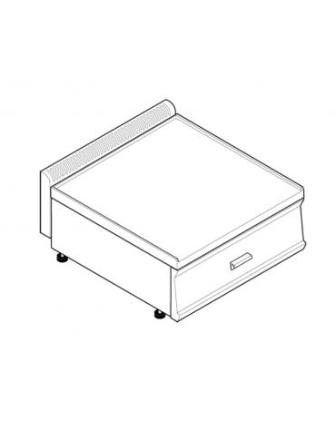 Piano di lavoro in acciaio inox, accessoriabile con apposito tagliere, con cassetto - cm 70x70x28h