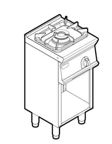 Piano di cottura a gas 1 fuoco su vano aperto, potenza fuoco aperto 1X7,2kw - cm 40x45x90h