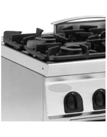 Piano di cottura a gas 3 fuochi su vano aperto, potenza fuochi aperti 2X4,5kw + 1X7,2kw - cm 120x45x90h