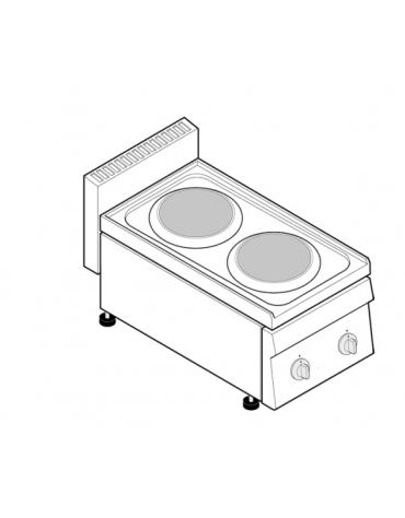 Piano di cottura elettrico trifase-4kw, 2 piastre cm Ø 18 - cm 35x65x28h