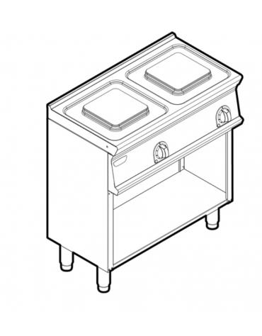 Piano di cottura elettrico trifase-5,2kw, 2 piastre cm 22x22 - cm 80x45x90h