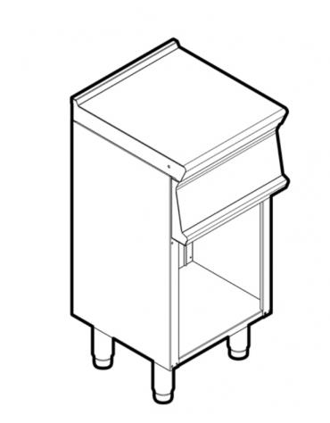 Piano di lavoro in acciaio inox su vano aperto, dotato di piedini regolabili, senza cassetto - cm 40x45x90h