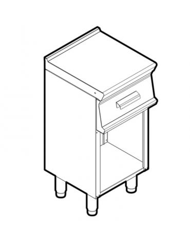 Piano di lavoro inox su vano aperto, dotato di piedini regolabili, con 1 cassetto, cm 29,5x37x10h - dim tot.cm 40x45x90h