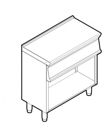 Piano di lavoro in acciaio inox su vano aperto, dotato di piedini regolabili, senza cassetto - cm 80x45x90h