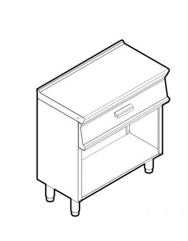 Piano di lavoro inox su vano aperto, dotato di piedini regolabili, con 1 cassetto, cm 69,5x37x10h - dim tot.cm 80x45x90h