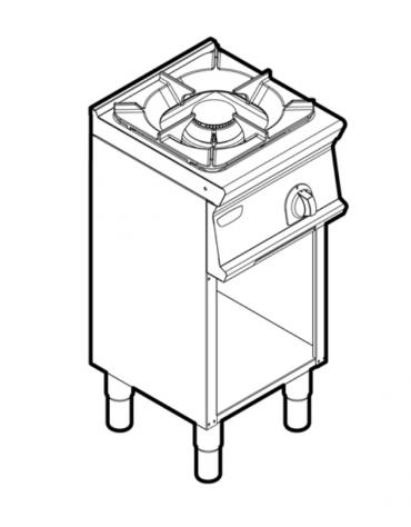 Piano di cottura a gas 1 fuoco su vano aperto, potenza fuoco aperto 1X9kw - cm 40x45x90h