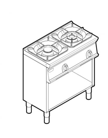 Piano di cottura a gas 2 fuochi su vano aperto, potenza fuoco aperto 1X5,5kw +1x9kw - cm 80x45x90h