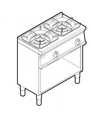 Piano di cottura a gas 2 fuochi su vano aperto, potenza fuoco aperto 2X9kw - cm 80x45x90h
