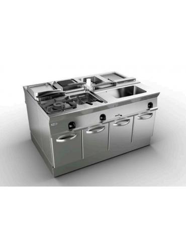 Piano di cottura a gas 3 fuochi su vano aperto, potenza fuoco aperto 1X5,5kw+2X9kw - cm 120x45x90h