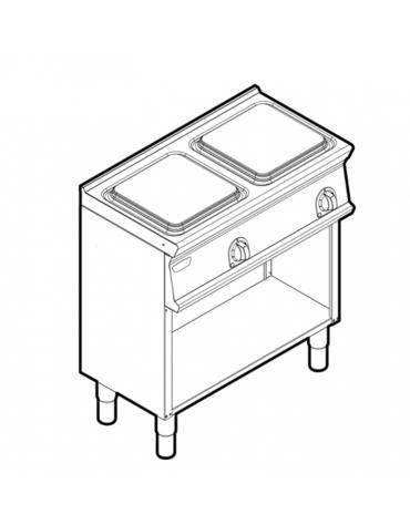 Piano di cottura elettrico trifase-8kw, 2 piastre cm 30x30 su vano aperto - cm 80x45x90h