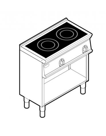Piano di cottura ad induzione trifase-6,8kw su vano aperto, con 2 piani di cottura - cm 80x45x90h